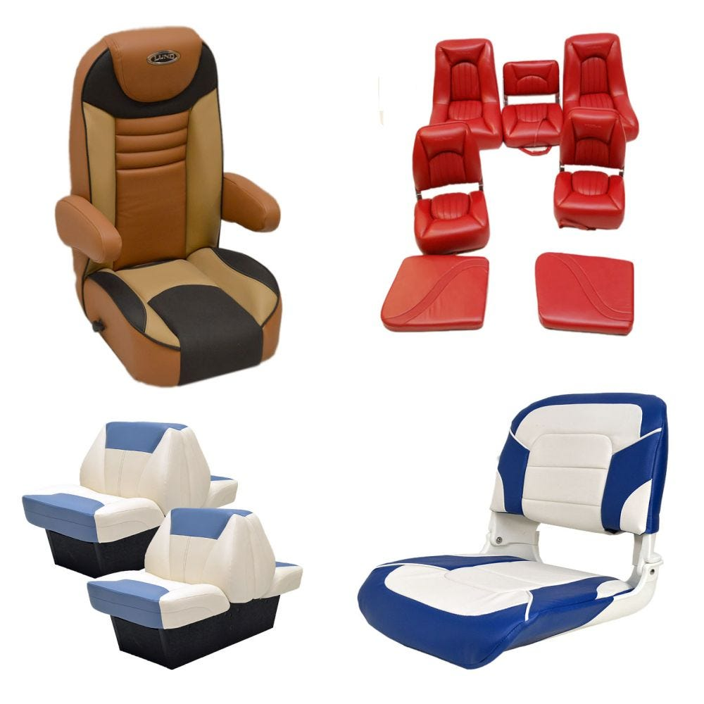 Boat Seats Boat Marine Seating Pontoon Seats Great Lakes Skipper - Bayliner boat decalsfour winns sun downer boat back to back seatbase stand red