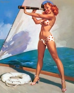 Looks lucky to us! Painting by Gil Elvgren.