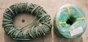 L to R: Photodegraded polypropylene rope, new rope.