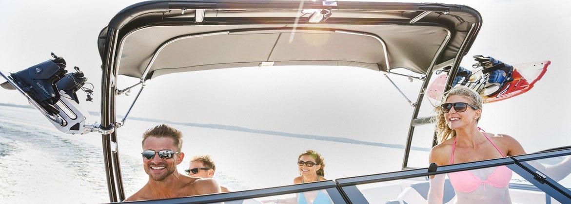 Men and women having fun on boat