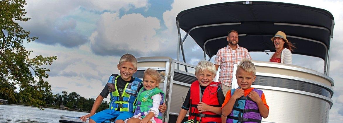 Family having fun on boat