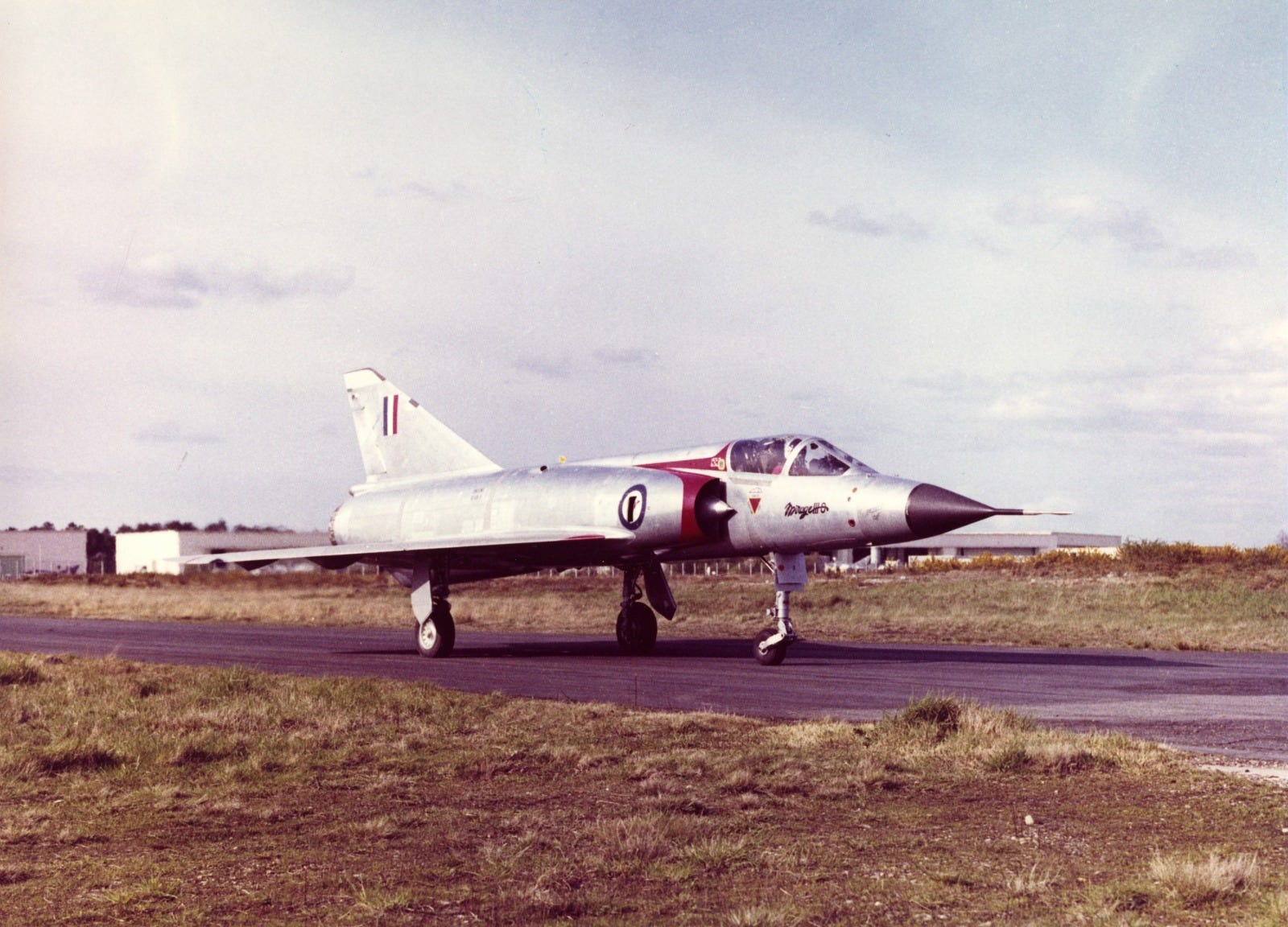 Dassault Mirage III aircraft, showing long pitot tube on the nose cone.