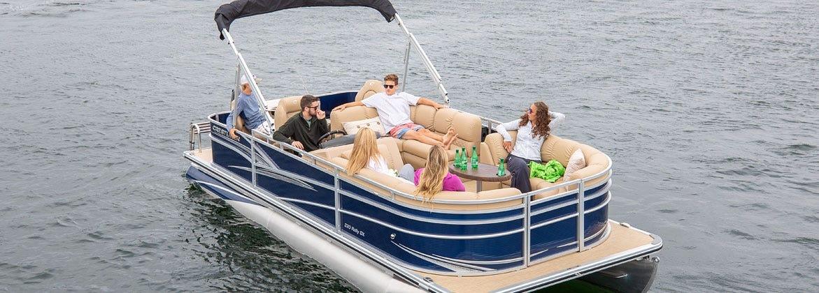 Friends on Crestliner Pontoon Boat Pontoon Logs