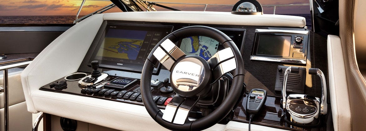 Leather steering wheel on Carver Yacht electronic dash