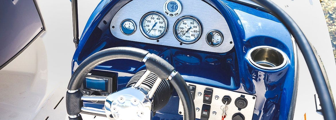 Leather steering wheel on Sea Ray Boat electronic dash