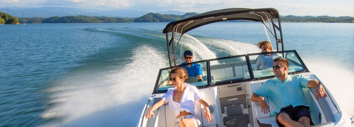 Glass windshield & bimini on sport boat
